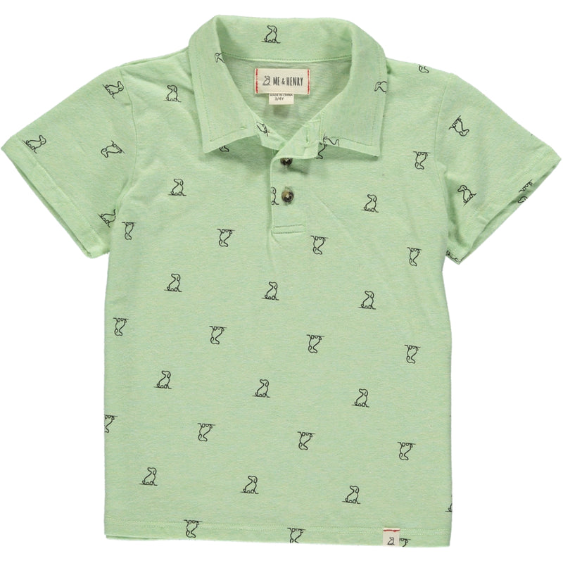 Lime henry dog print polo