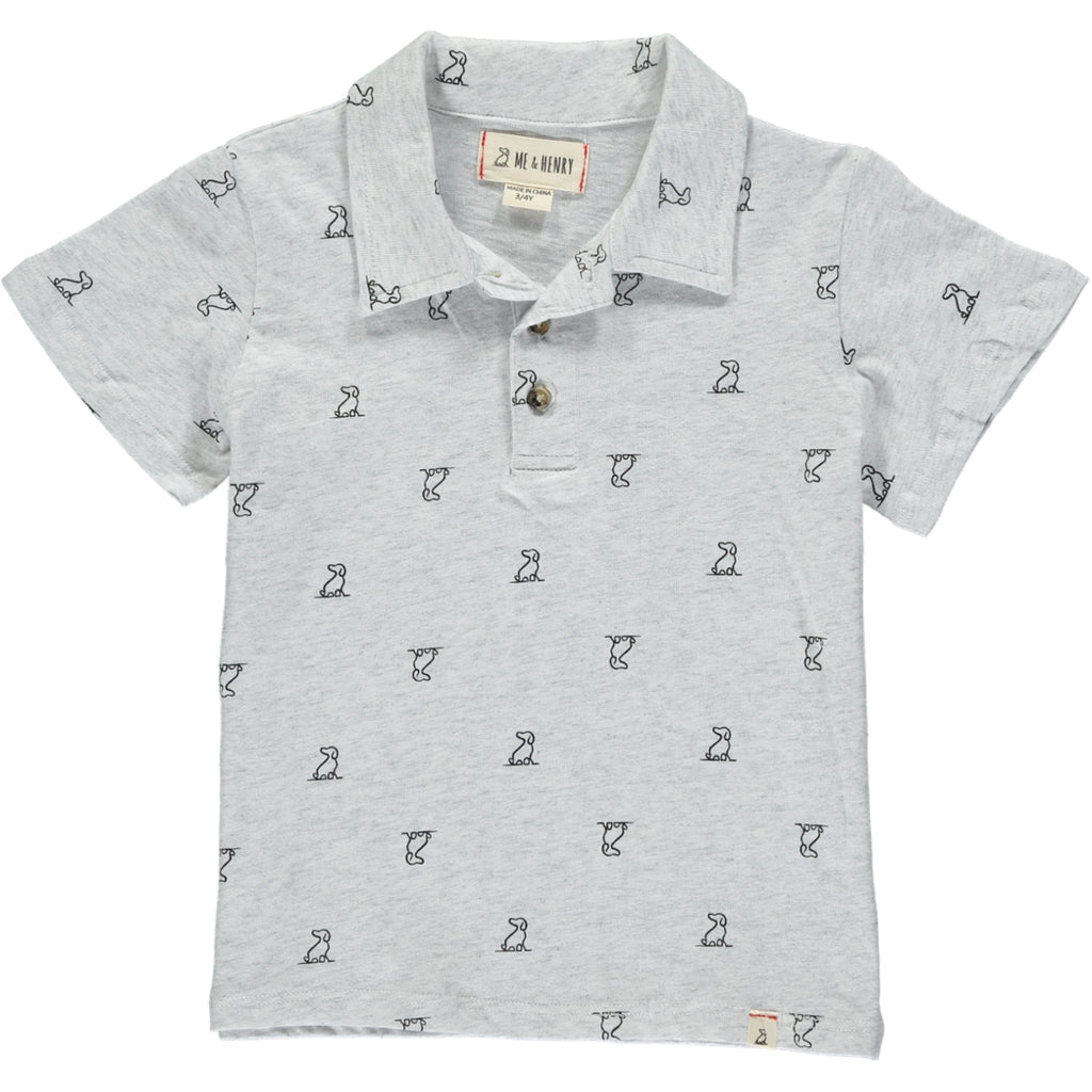 MEN'S Grey henry dog print polo