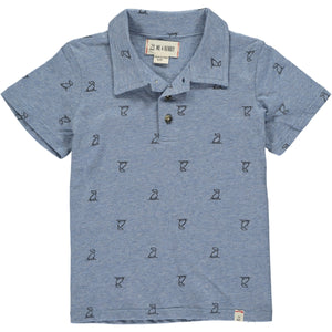Blue henry dog print polo