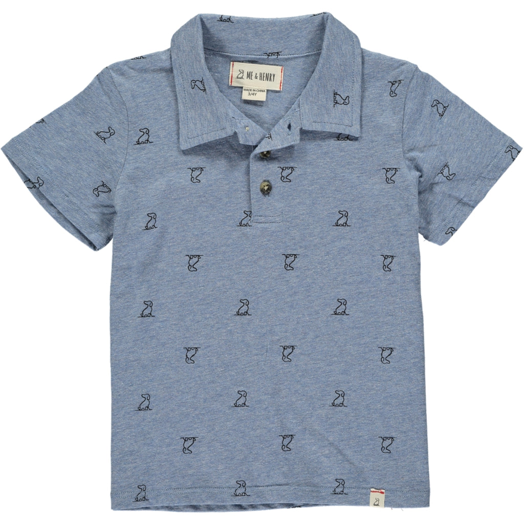 MEN'S Blue henry dog print polo