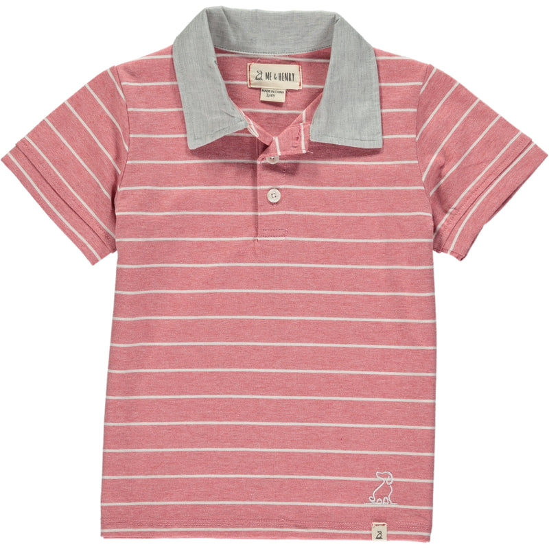 MEN'S Red/white stripe jersey polo