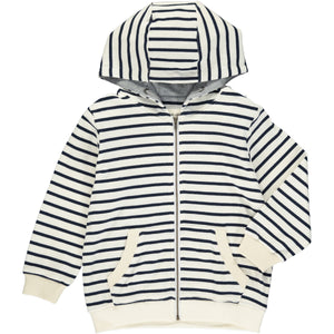 Cream/navy stripe hooded top