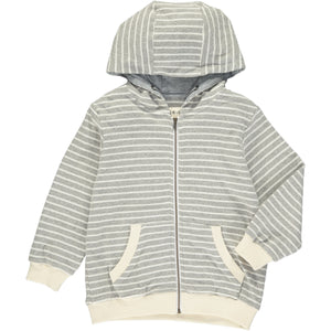 Grey/white stripe hooded top