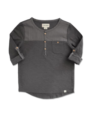 front image of boys black Henley top with sleeves rolled up