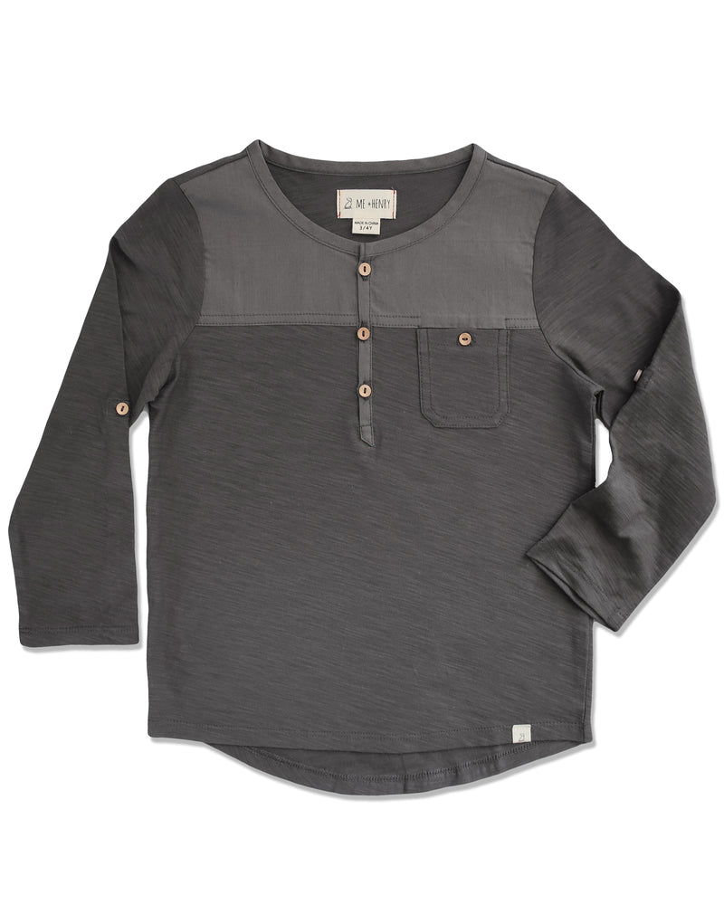 front image of boys black Henley top with long sleeves