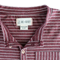 close up image of long sleeved Henley tee with burgundy stripes and pocket