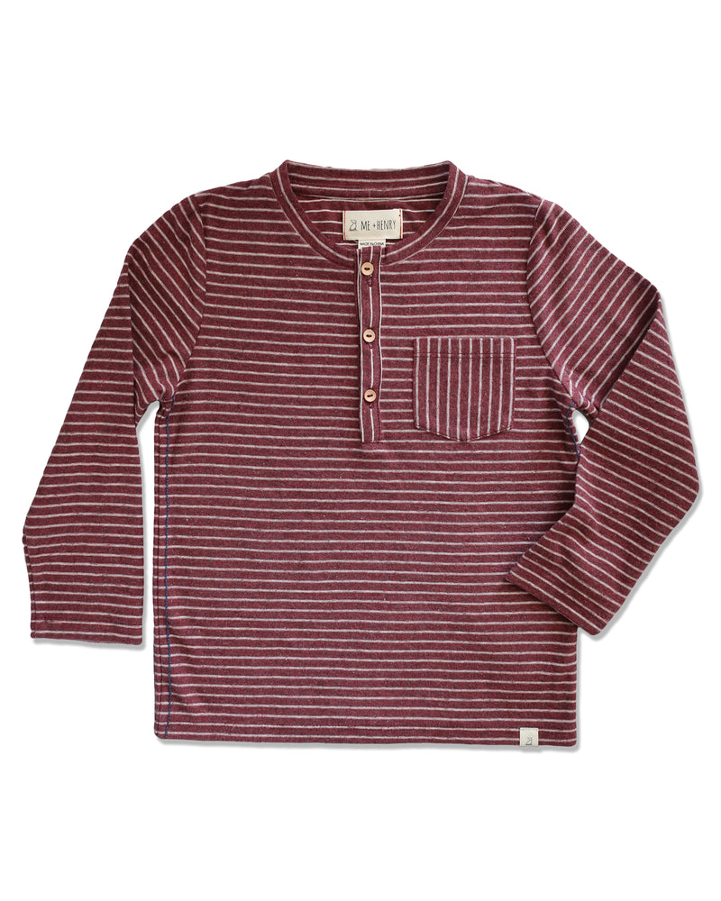 front image of long sleeved Henley tee with burgundy stripes and pocket
