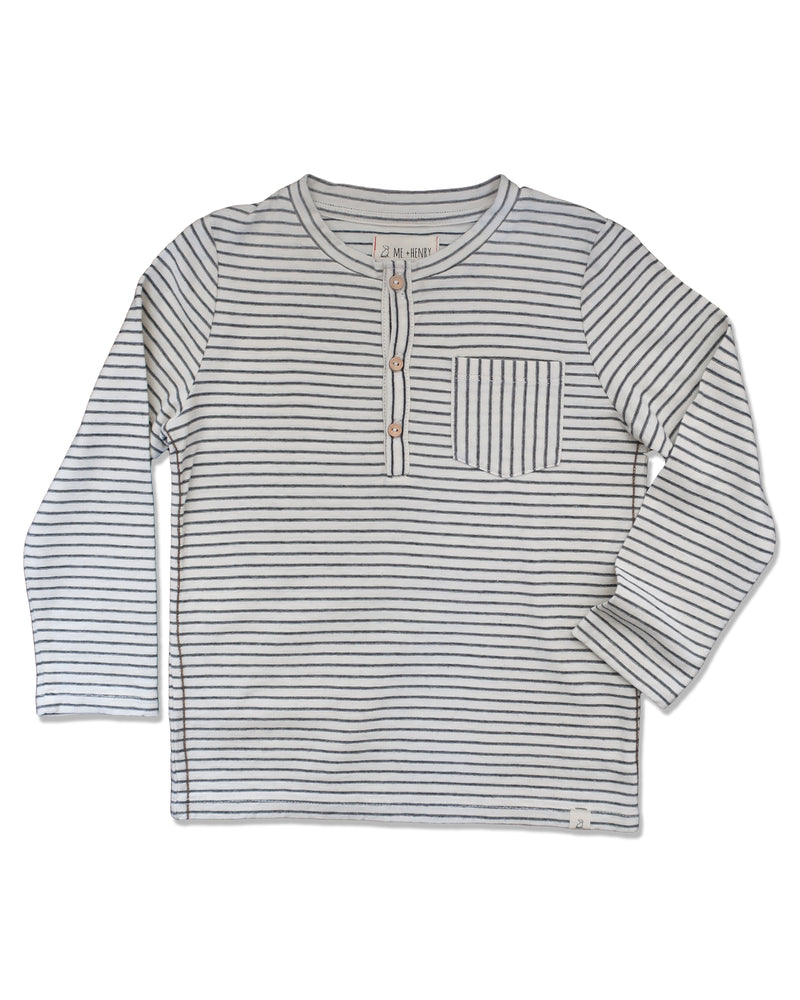 front image of long sleeved Henley tee with ecru and grey stripes and pocket