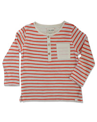 front image of slub cotton orange and cream striped Henley tee