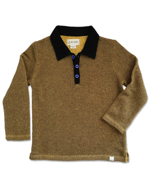 front image of gold knitted cotton retro style polo with black collar