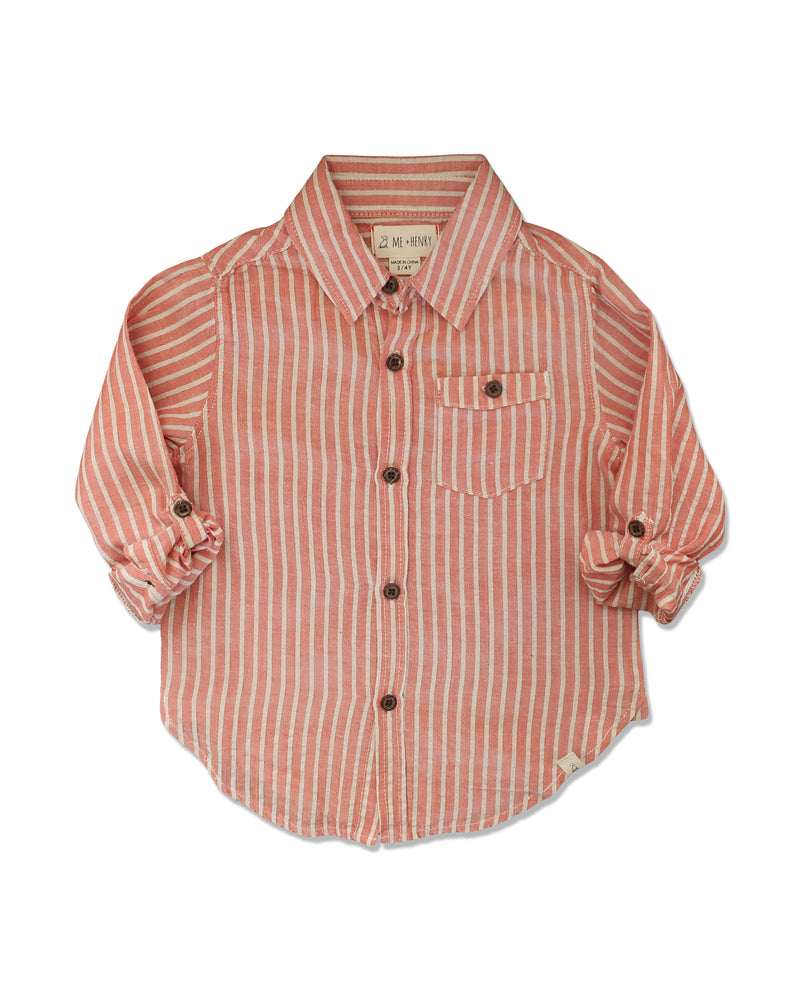 front image of long sleeved cotton orange striped woven shirt with sleeves rolled up