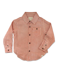front image of long sleeved cotton orange striped woven shirt