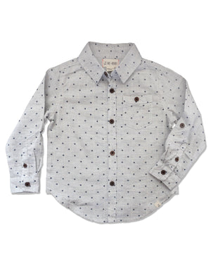 front image of long sleeved cotton grey woven shirt with navy spots all over