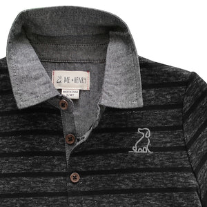 close up image of black and grey striped cotton rugby top with grey chambray collar