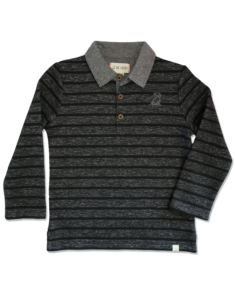 front image of black and grey striped cotton rugby top with grey chambray collar