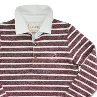 close up image of burgundy and cream striped knitted cotton rugby top with white cotton collar