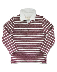 front image of burgundy and cream striped knitted cotton rugby top with white cotton collar