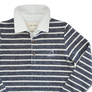 close up image of navy and cream striped knitted cotton rugby top with white cotton collar
