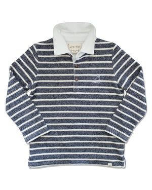 front image of navy and cream striped knitted cotton rugby top with white cotton collar