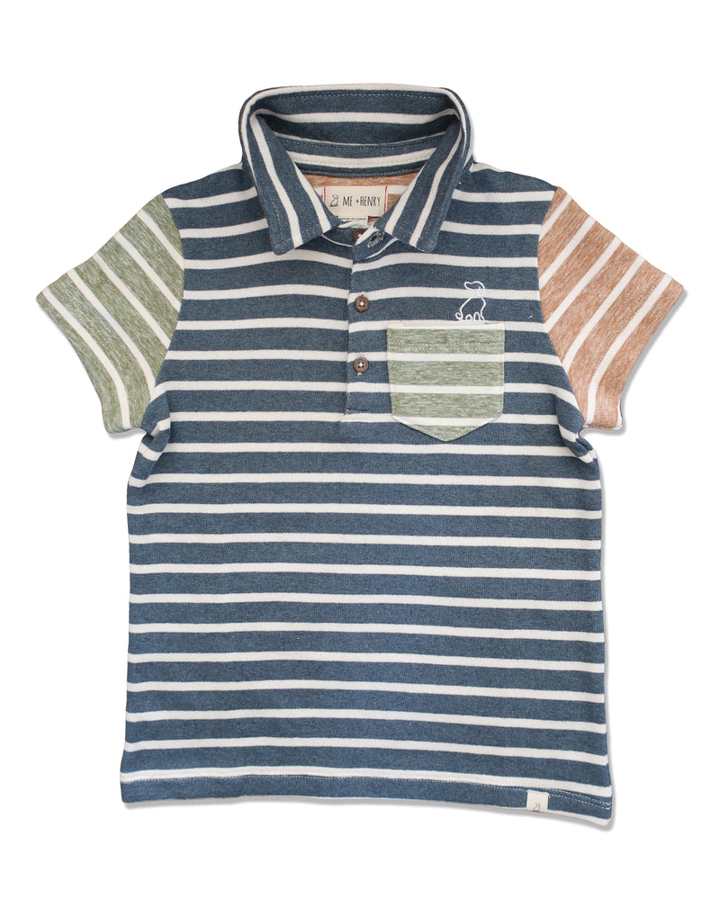 front image of polo shirt with multi coloured stripes