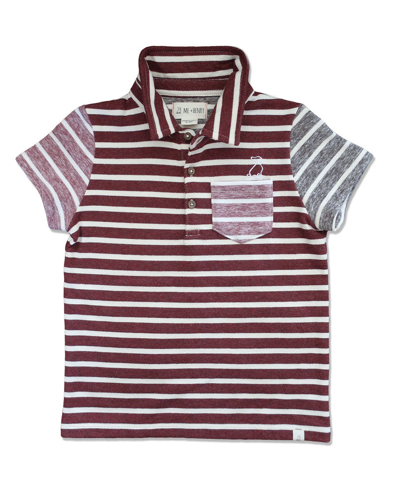 front image of polo shirt with multi coloured burgundy stripes