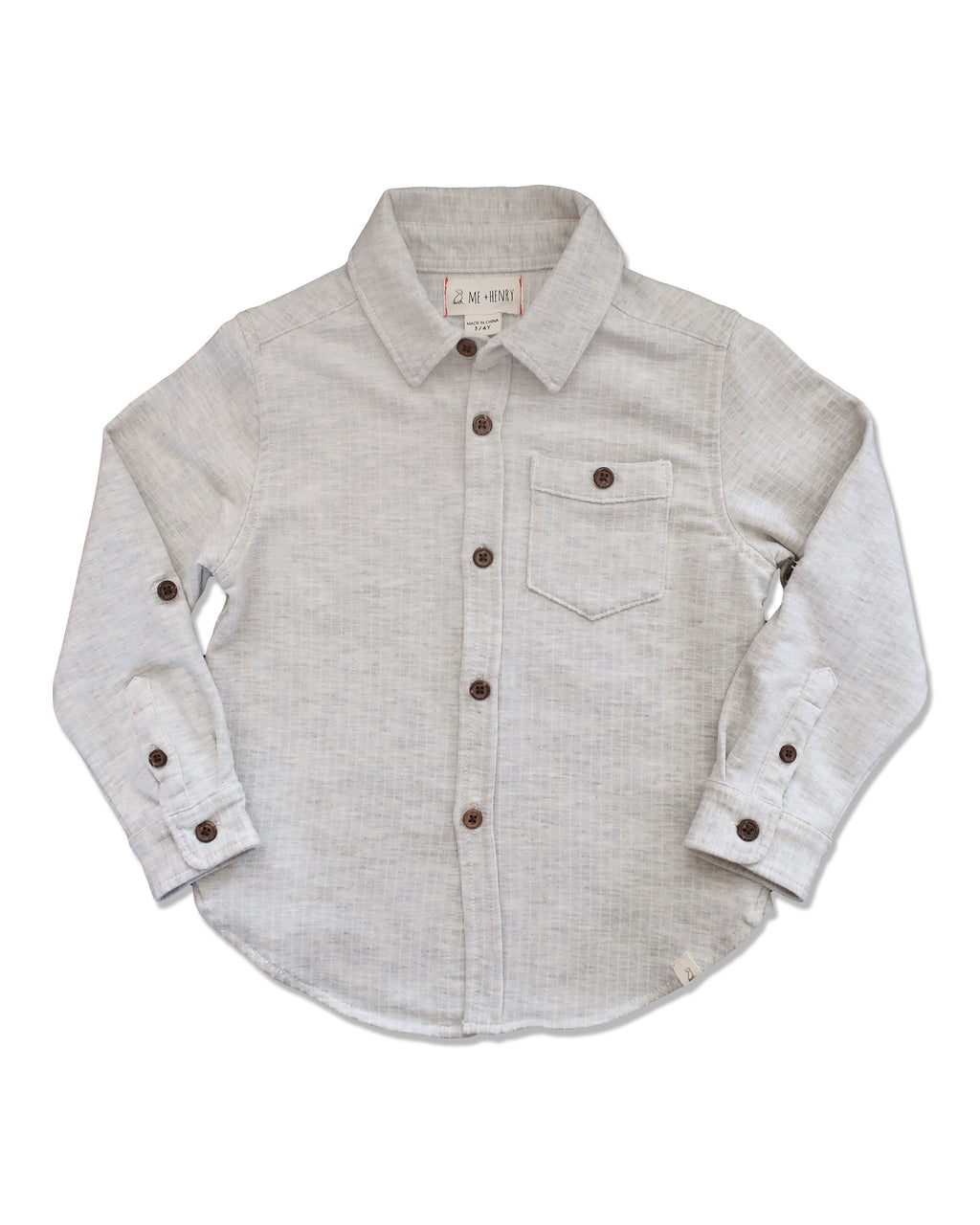 front image of grey jersey shirt for boys with long sleeves