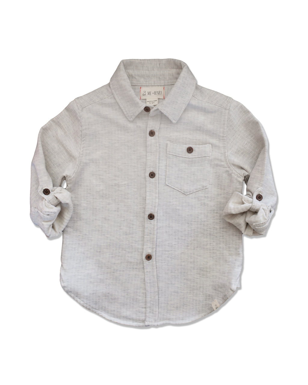 front image of grey jersey shirt for boys with sleeves rolled up