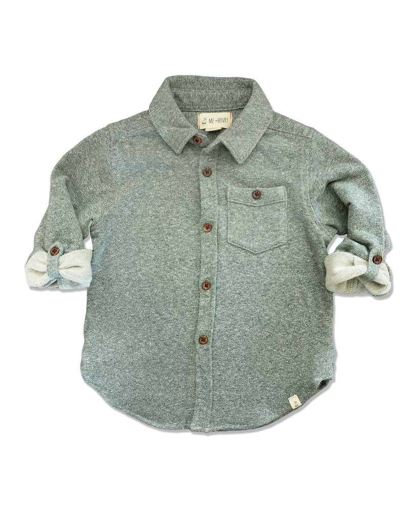 front image of green jersey shirt for boys with sleeves rolled up