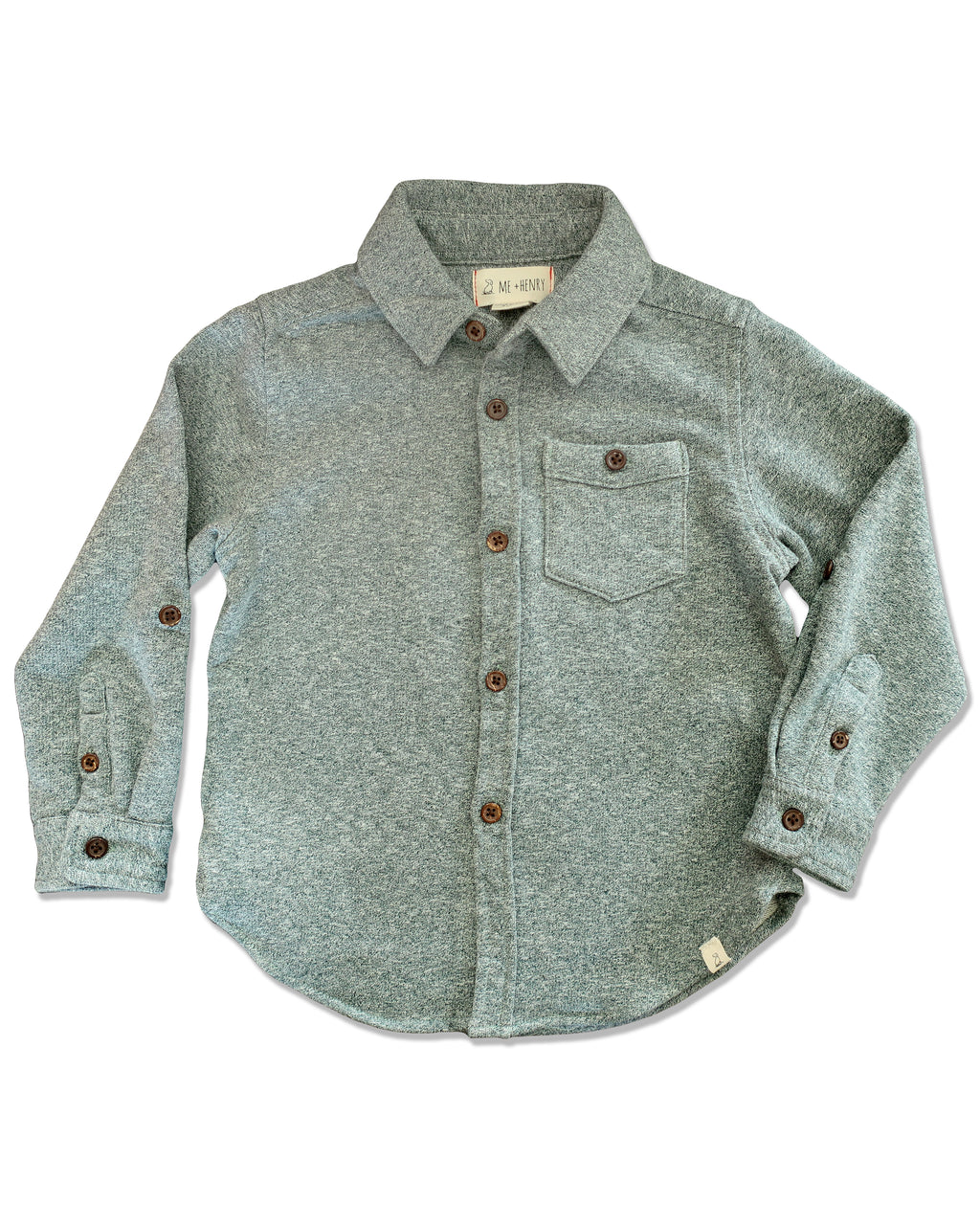 front image of green jersey shirt for boys with long sleeves
