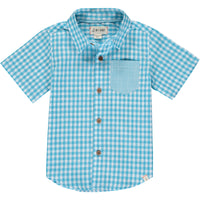 Blue plaid short sleeved shirt