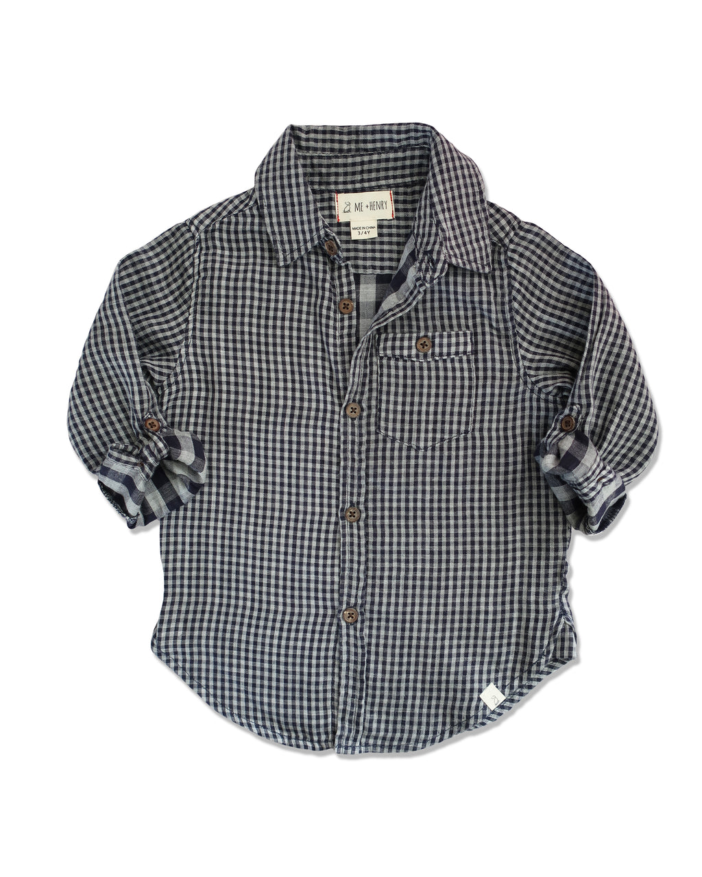 front image of boys cotton navy plaid shirt with sleeves rolled up