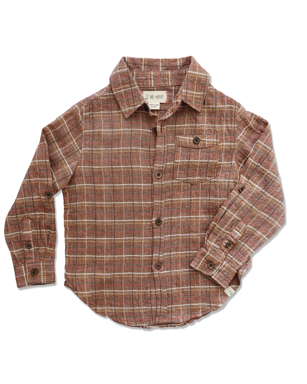 front image of boys cotton long sleeved brown plaid shirt