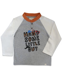 front image of grey raglan tee with words 'Handsome Little Guy' on front, orange collar and white arms