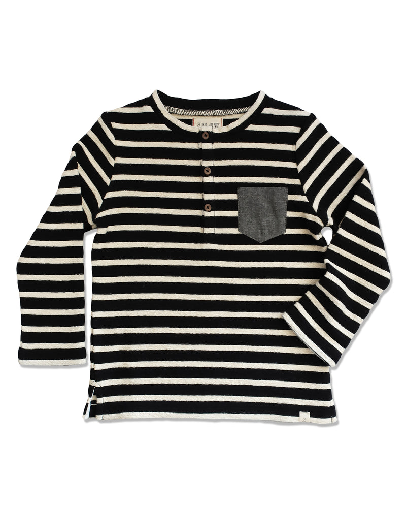 front image of loop back cotton fabric black and cream striped Henley tee