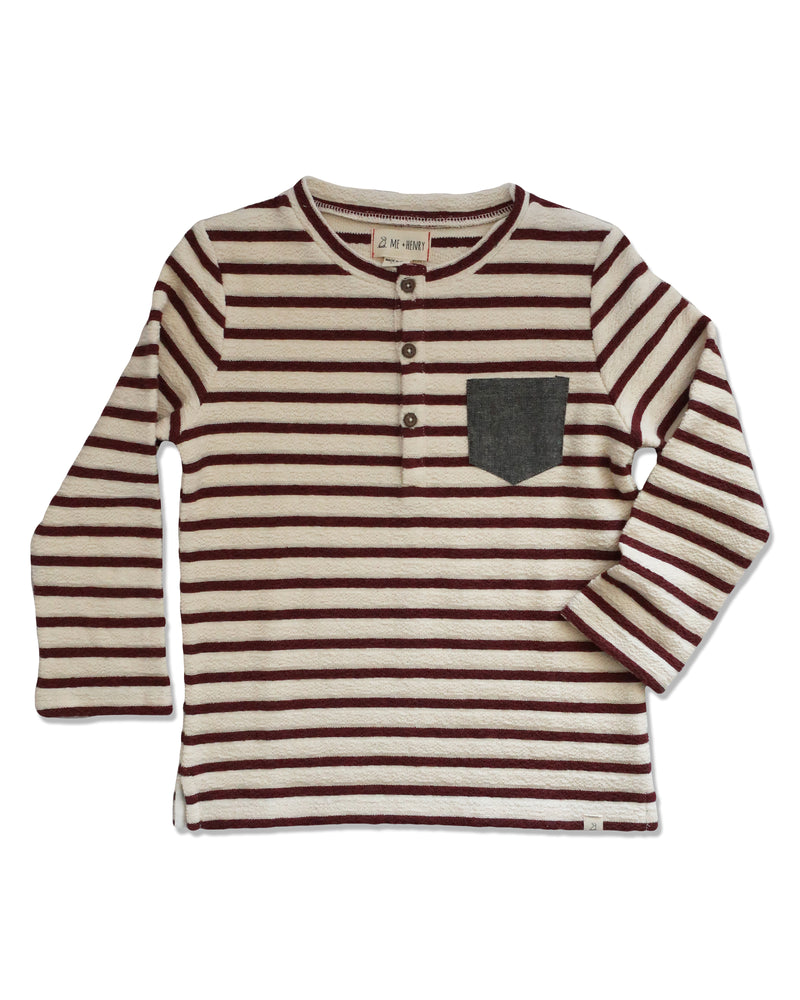 front image of loop back cotton fabric burgundy and cream striped Henley tee