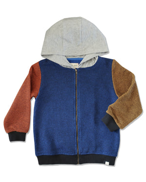 knitted cotton sweatshirt with hood, zip up with blue body, orange arm, gold arm and grey jersey hood