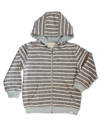 front image of beige and cream striped cotton hooded sweatshirt with zip front