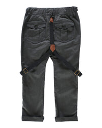 back image of boys black dogtooth plaid woven pants with suspenders