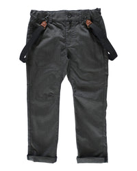 front image of boys black dogtooth plaid woven pants with suspenders