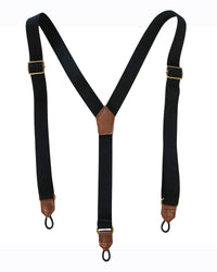 front image of suspenders that are removed from black dogtooth plaid pants