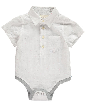 White with small spot onesie