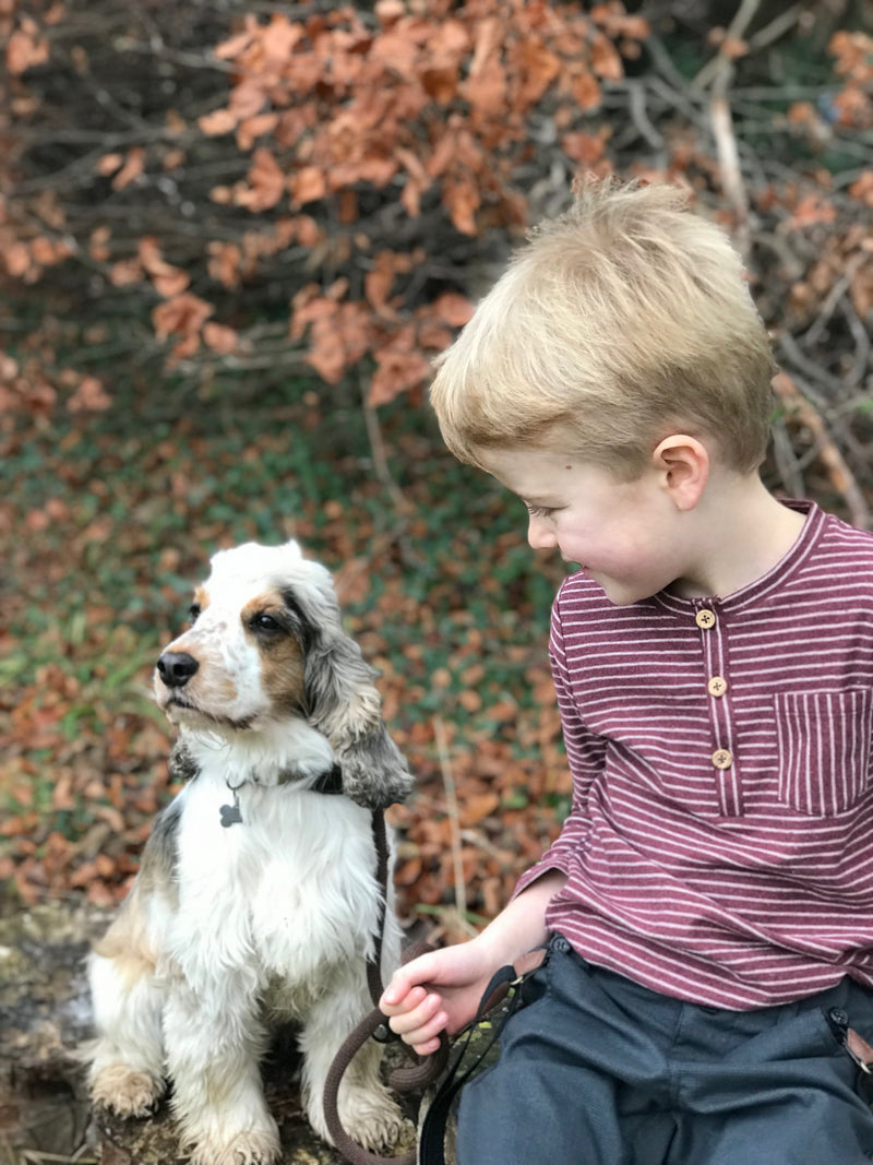 boy sat with Henry the dog and wearing long sleeved Henley tee with burgundy stripes and pocket