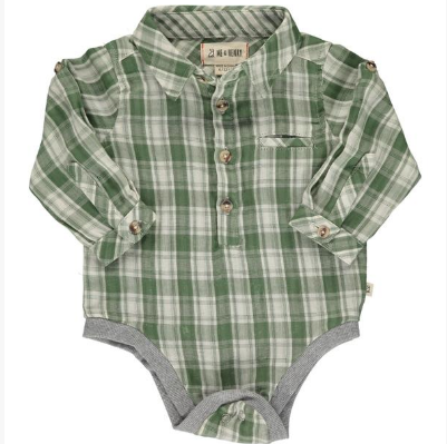 Green/cream plaid woven onesie
