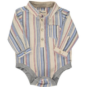 Blue/cream stripe woven onesie