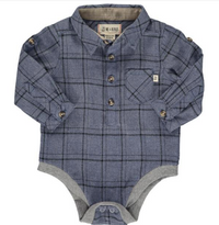 Blue/black plaid woven onesie