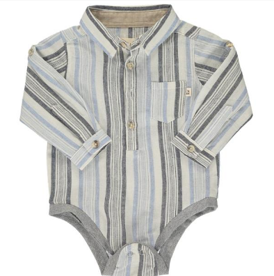 Blue/black/white stripe woven onesie