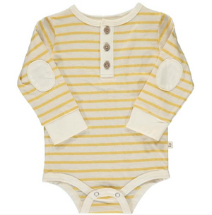 Yellow stripe slub henley onesie