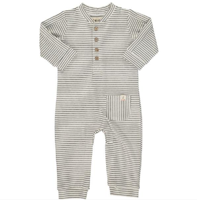 White/black stripe jersey romper