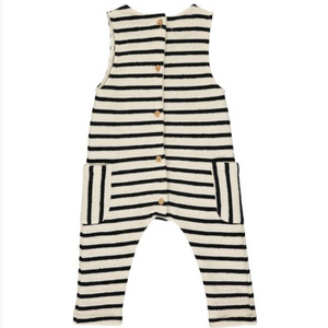 Cream stripe jersey playsuit