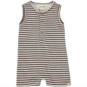 Brown stripe jersey playsuit